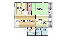 兵庫県神戸市灘区大石南町3丁目の賃貸アパートの間取り