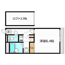大阪府寝屋川市高柳3丁目の賃貸アパートの間取り