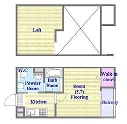 アクアレスト神戸西 2階1Kの間取り