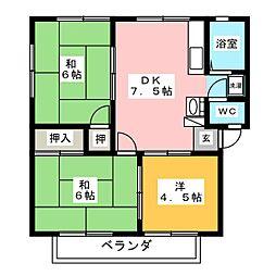 桃の木ハイツ[2階]の間取り