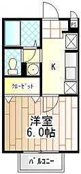 東京都町田市南つくし野2丁目の賃貸アパートの間取り