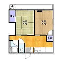 第4青葉荘[101号室]の間取り