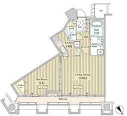 都営大江戸線 汐留駅 徒歩3分の賃貸マンション 20階1LDKの間取り