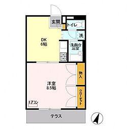 千葉県野田市山崎新町の賃貸アパートの間取り