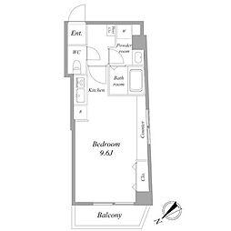 都営浅草線 浅草駅 徒歩9分の賃貸マンション 4階ワンルームの間取り