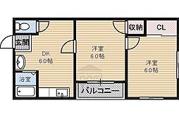 飯塚ハイツ4階Fの間取り画像