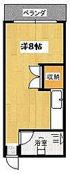 さんめい荘 4階ワンルームの間取り