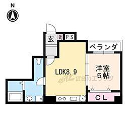京都市営烏丸線 五条駅 徒歩8分の賃貸アパート 1階1LDKの間取り