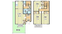 [テラスハウス] 兵庫県姫路市飾磨区構3丁目 の賃貸【兵庫県 / 姫路市】の間取り