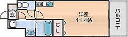 Osaka Metro四つ橋線 花園町駅 徒歩6分の賃貸マンション 11階ワンルームの間取り