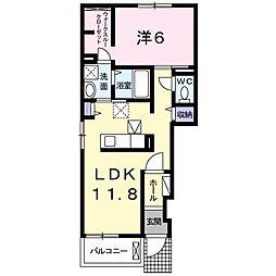 東京都八王子市横川町の賃貸アパートの間取り
