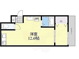 阪急神戸本線 塚口駅 徒歩5分の賃貸アパート 3階ワンルームの間取り