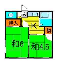 美鈴荘[1階]の間取り