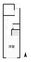 福寿荘 1階ワンルームの間取り