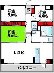 JR筑豊本線 中間駅 徒歩10分の賃貸マンション 2階3LDKの間取り
