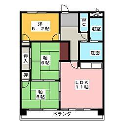 マンション白峰[4階]の間取り