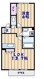 ヴェルドミールB[2階]の間取り