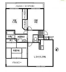埼玉県さいたま市緑区芝原2丁目の賃貸マンションの間取り