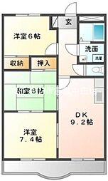 岡山県倉敷市茶屋町丁目なしの賃貸マンションの間取り