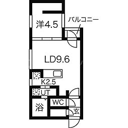 北海道札幌市中央区北一条西20丁目の賃貸マンションの間取り