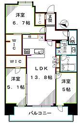 グランドメゾン江古田の杜 1階3LDKの間取り