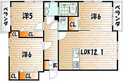 プレステージ西工大前Ⅱ[3階]の間取り
