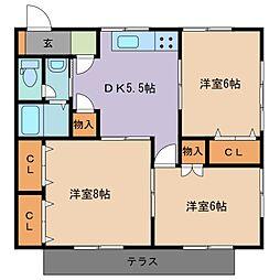 三重県鈴鹿市平田本町2丁目の賃貸アパートの間取り