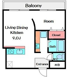 TSマンション 5階1LDKの間取り