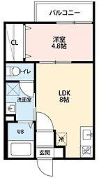 愛知県名古屋市中村区日ノ宮町3丁目の賃貸アパートの間取り