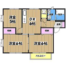 東京都あきる野市草花の賃貸アパートの間取り