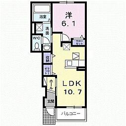 JR久大本線 田主丸駅 徒歩15分の賃貸アパート 1階1LDKの間取り