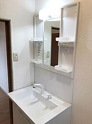 新規交換済みの整髪洗面化粧台。シャワーノズルの便利な水栓付きです。