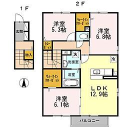 広島県東広島市八本松飯田7丁目の賃貸アパートの間取り