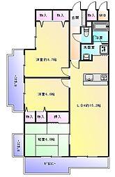 大阪府八尾市高美町6丁目の賃貸マンションの間取り