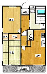 ラ・クーレkasuga 4階2LDKの間取り