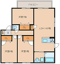 大阪府東大阪市新池島町2丁目の賃貸アパートの間取り