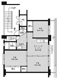 ビレッジハウス大嶺1号棟4階Fの間取り画像