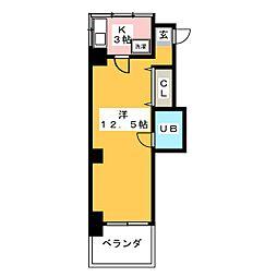 レイ・K・Kビル 4階1Kの間取り