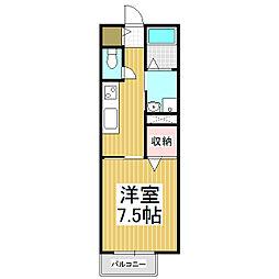 コスモハイムI 2階1Kの間取り