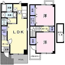 ソレイユMII・III 1階2LDKの間取り