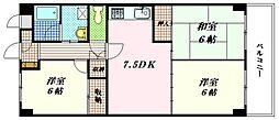 広島県広島市東区中山西2丁目の賃貸マンションの間取り