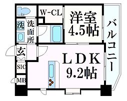 阪急神戸本線 春日野道駅 徒歩7分の賃貸マンション 9階1LDKの間取り