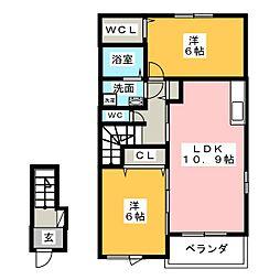 エレガントA B[2階]の間取り