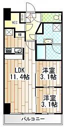 神奈川県相模原市中央区由野台1丁目の賃貸マンションの間取り