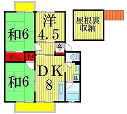 東京都足立区一ツ家2丁目の賃貸アパートの間取り