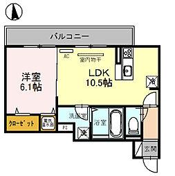 アダージョ富田[202号室]の間取り