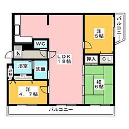 プレベール筑紫野[4階]の間取り