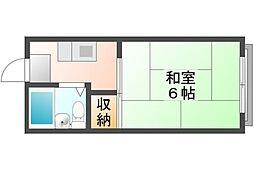 岡山県岡山市北区大供表町の賃貸アパートの間取り