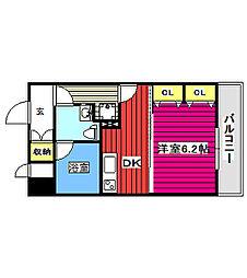 仙台市地下鉄東西線 川内駅 大崎八幡宮前下車 徒歩20分の賃貸マンション 6階1DKの間取り
