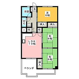 緑園第1サンコーポ[1階]の間取り